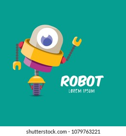 vector orange cartoon cute flat robot icon torquoise on white. green funny robot logo design template