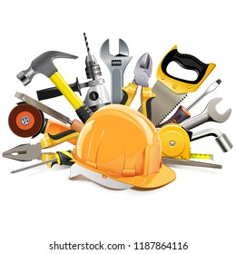 Vector Orange Construction Helmet with Hand Tools isolated on white background