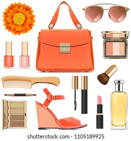 Vector Orange Female Accessories isolated on white background