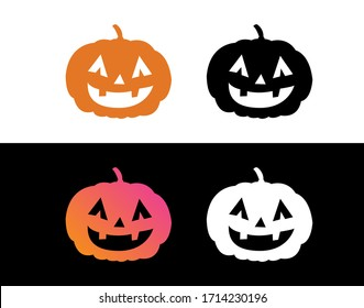 The vector orange gradient Halloween holiday witch flat circle icon set
