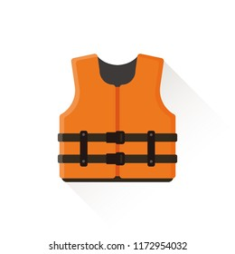 vector orange  life vest, air jacket / safety concept / isolated, circle, sign and icon template