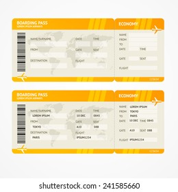 Vector Orange Modern Airline boarding pass tickets isolated on white