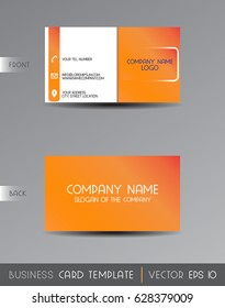 Vector orange peach with white business card template.
