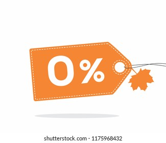 Vector orange price tag label with 0% text, stitches and a leaf on it isolated on white background with shadow. For autumn sale campaigns.