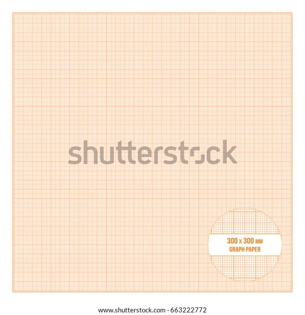 Vector Orange Printable Metric Graph Paper Stock Vector (Royalty