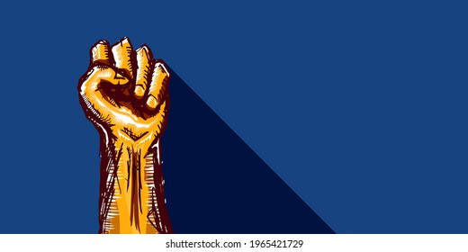 Vector orange protest fist isolated on blue horizontal banner background. 1 may Labor day concept illustration with man hand rised fist in the air. Mayday graphic horizontal banner design template