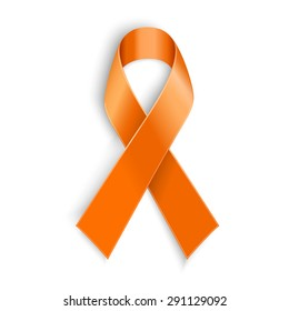 Vector Orange ribbon as symbol of Animal Abuse, leukemia awareness, kidney cancer association, multiple sclerosis