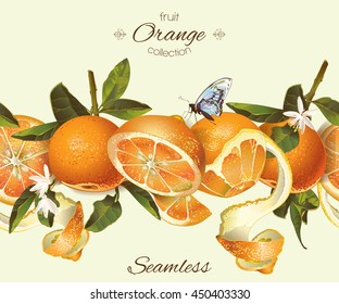 Vector orange seamless horizontal border. Background design for juice, tea, natural cosmetics, bakery with orange filling, farmers market, grocery ,health care products. Best for packaging design.