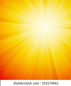 Vector orange shiny sun background with sunbeams, sunrays.