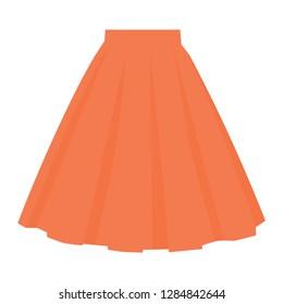 Vector orange skirt template, design fashion woman illustration. Women bubble skirt