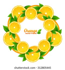 Vector orange slices and leaves round frame