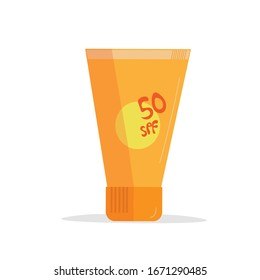 vector orange sunscreen bottle on a white background.  isolated tube cream with sun protection spf