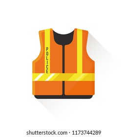 vector orange traffic police officer safety vest / direct the traffic / patrol / isolated, circle, sign and icon template