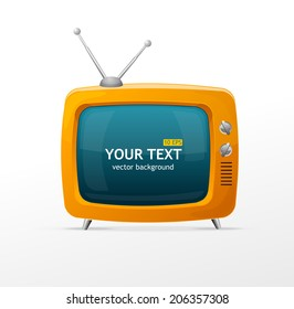 Vector orange TV blank on white background
