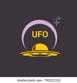 vector orange vintage Ufo flying saucer icon isolated on black night background. Ufo logo or label design template. UFO day poster