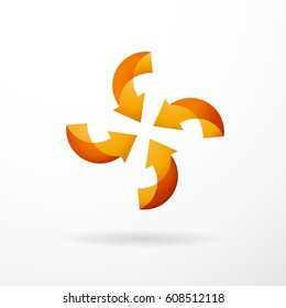 Vector orange vortex with four arrows