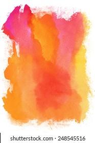 Vector orange watercolor background. In style grunge