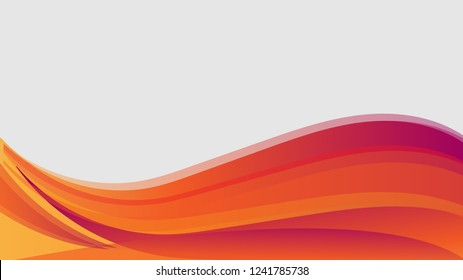 Vector orange wavy wave abstract swoosh background. Wavy waves banner color line for web banner. Abstract orange wave, lines wave texture background, web design abstract card, abstract banners.