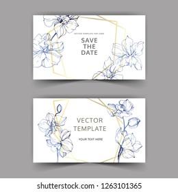 Vector. Orchid botanical flower. Blue engraved ink art. Wedding background card floral decorative border. Thank you, rsvp, invitation elegant card illustration graphic set banner.