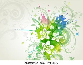 Vector orchid flowers on a grunge background