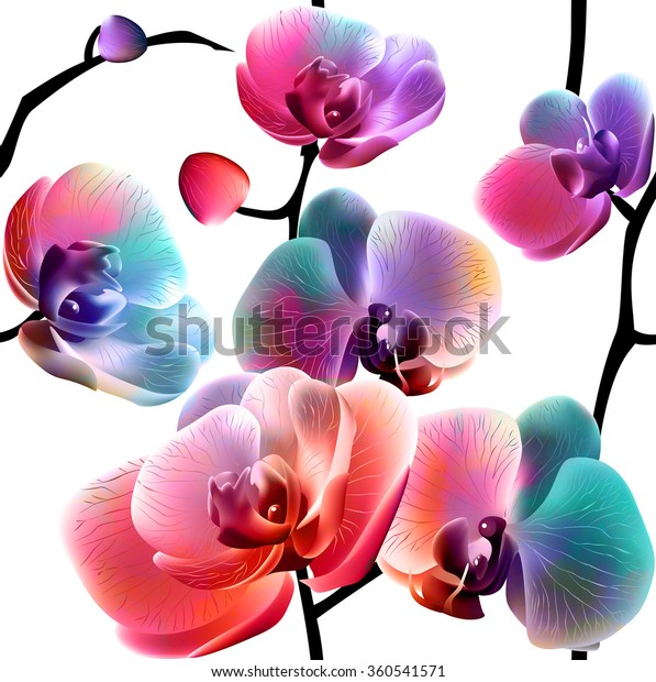 Vector orchids. Seamless pattern. EPS10.