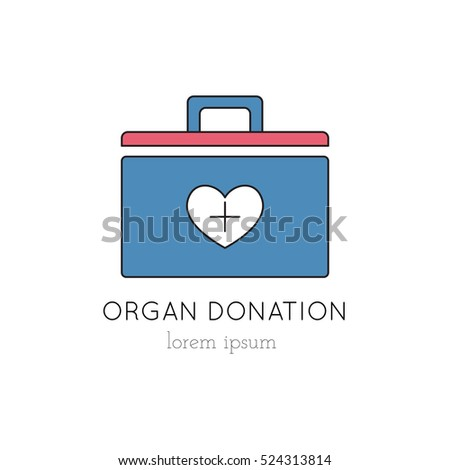Vector Organ Donation Container Thin Line Stock Vector Royalty Free