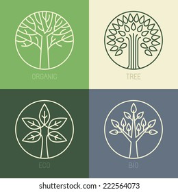 Vector organic badges - outline circle monograms and logos -ecology and bio design elements