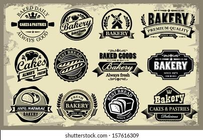 vector organic bakery labels set on grunge