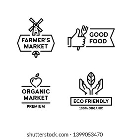 Vector organic farmers food label set. Good food logo with hand like. 100 organic icon with leaf. Line windmill symbol illustration. Farm, eco friendly badges for local market, healthy bio goods