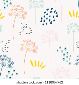 Vector organic floral seamless abstract background with fennel or dill flowers, botanical motif, freehand doodles pattern.