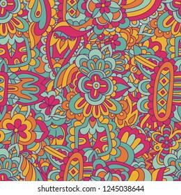 Vector organic geometric seamless abstract doodle ethnic painting. Artistic handmade batik print, floral oriental textile, fabric.