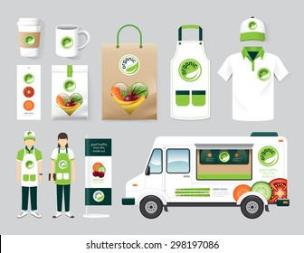 Vector organic health shop design set street food truck, menu, package, t-shirt, cap, uniform and display design/ layout set of corporate identity mock up template.