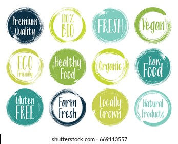 Vector organic labels, bio emblems for restaurants menu, natural products packaging. Fresh, raw food, vegan, gluten free, eco friendly, premium quality, locally grown, organic healthy food labels.