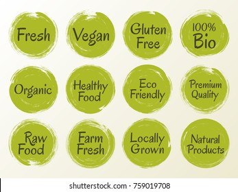 Vector organic labels, bio emblems for restaurants menu, natural products packaging. Fresh raw food, vegan, gluten free, eco friendly, premium quality, locally grown, organic healthy food green labels