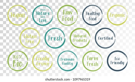 Vector organic labels, eco stamps for restaurants menu, natural products packaging. Fresh raw food vegan gluten free eco friendly premium quality locally grown organic certified healthy food labels.