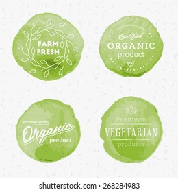 Vector organic products watercolor badges set. High quality design elements.