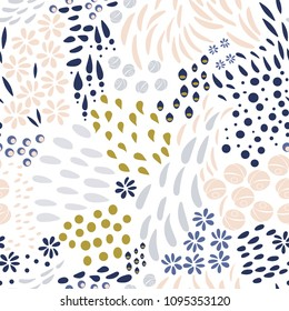Vector organic seamless abstract background, botanical motif, freehand doodles pattern with stylized flowers, leaves, berries and simple shapes.