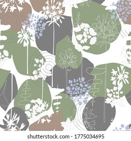 Vector organic seamless abstract background, botanical motif with stylized leaves, flowers and simple geometric shapes. Freehand doodles pattern.