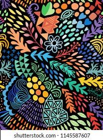 Vector organic seamless abstract botanical ethnic painting. Artistic handmade batik print, floral oriental textile, fabric.