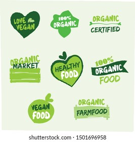 vector organic, vegan, healthy, bio logos or signs. Vegan food, healthy food, farm food, organic food badges, tags set for shop, cafe, restaurants, products packaging, stickers.