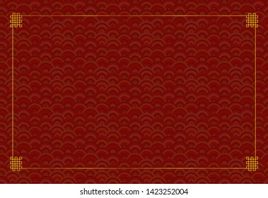 Vector Oriental Background Template, Seamless Geometric Red Pattern and Golden Frame, Blank Template.