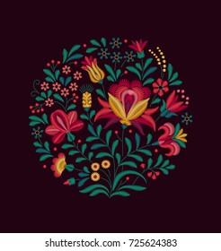 Vector Oriental motif of flowers. Imitation of embroidery. Multicolored flowers on a black background. Bouquet of flowers. Floral ornament in the form of a rosette and a round shape. Vintage Card.