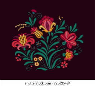 Vector Oriental motif of flowers. Imitation of embroidery. Colorful flowers on a black background. Bouquet of flowers. Floral ornament . Vintage Card.