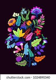 Vector Oriental motif of flowers. Original Floral design with of a woody vine with exotic flowers, tropic leaves and smaller birds. Tree of life Colorful flowers on a black background. Folk style.