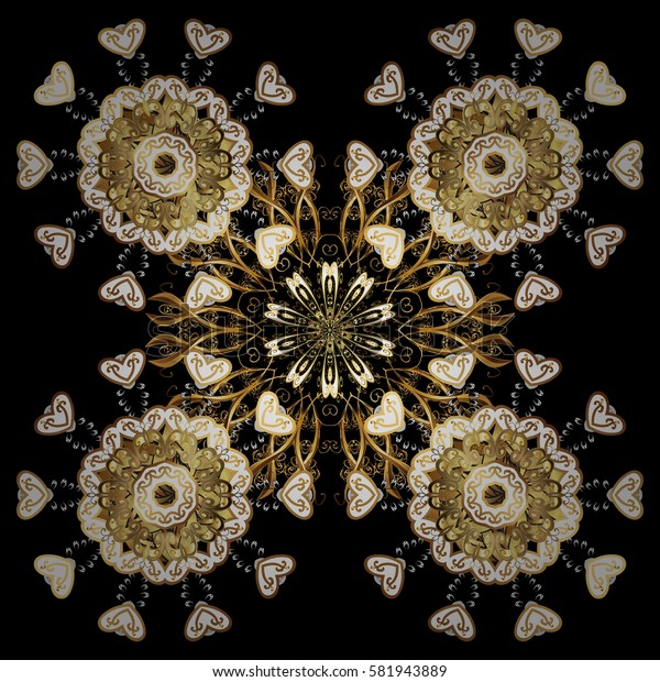 Vector oriental ornament. Golden pattern with white doodles on black background with golden elements. Golden pattern.