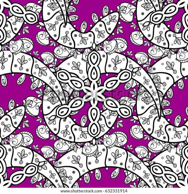 Vector oriental ornament. Seamless pattern on magenta background with white elements. Seamless white pattern.