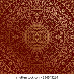 Vector oriental red background with gold ornament