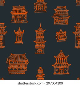 Vector oriental seamless pattern with chinese and japanese buildings