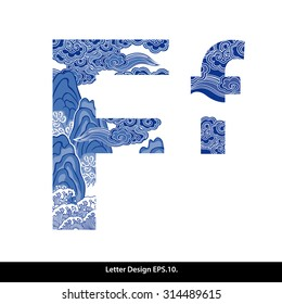 Vector of Oriental style alphabet - F. Traditional Chinese style.