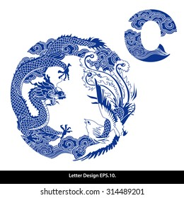 Vector of Oriental style alphabet - O. Traditional Chinese style.